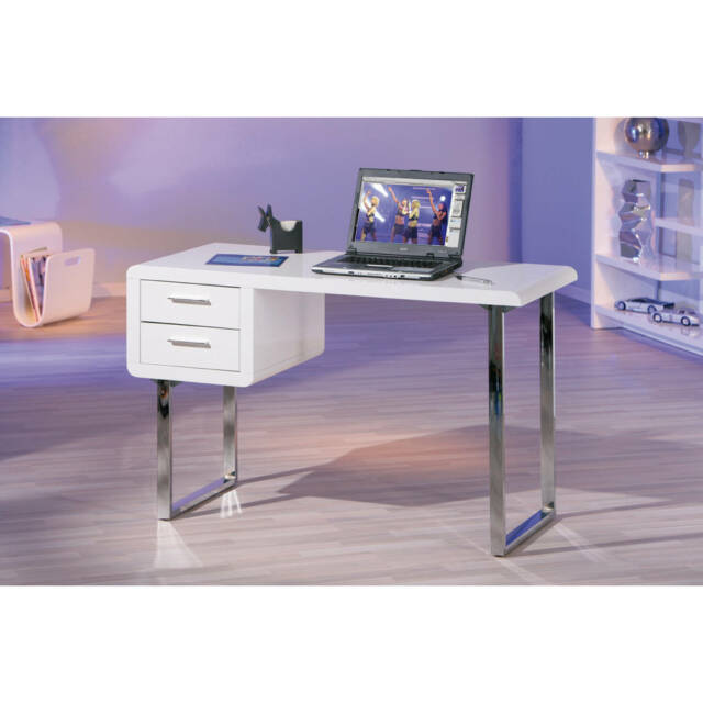 Schreibtisch weiß mit schubladen  links 50501010 Schreibtisch Claude 2-schubladen weiß | eBay