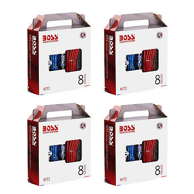 BOSS Audio KIT2 8 Gauge Complete Car Amplifier Installation Wiring Kit (4 Pack)