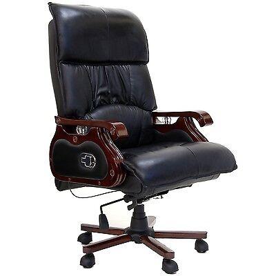 Bürostuhl Massagesessel Chefsessel Drehstuhl Echt Leder Schwarz Massagefunktion