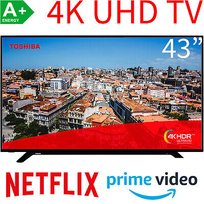 Toshiba 43 Zoll 4K UHD Smart TV LED HDR HDR10 HLG WLAN Bluetooth Fernseher 108cm