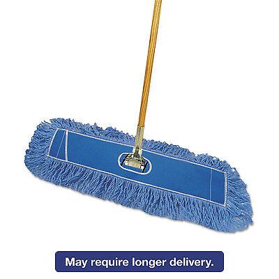 """Boardwalk Looped-End Dust Mop Kit 24 x 5 60"""" Metal/Wood Handle Blue/Natural"""