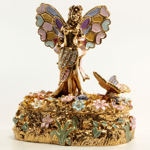 Bejeweled Fairy Trinket Box, Faberge  Figurine, With Crystals In Bright Gold