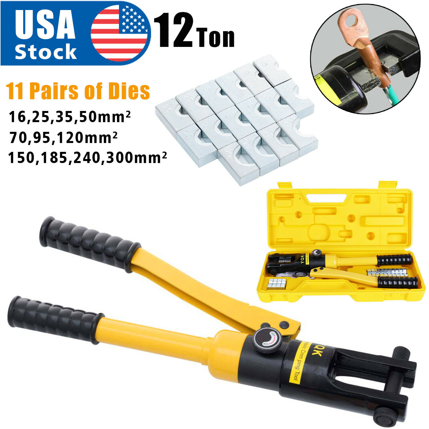 12 Ton Hydraulic Wire Battery Cable Lug Terminal Crimper Crimping Tool 11 Dies Business & Industrial