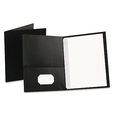 Oxford Twin-pocket Folders With 3 Fasteners Letter 12 Capacity Black 25box