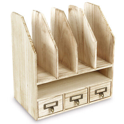 Wooden Desk Organizer Filemail Sorter Office Supplies Storage