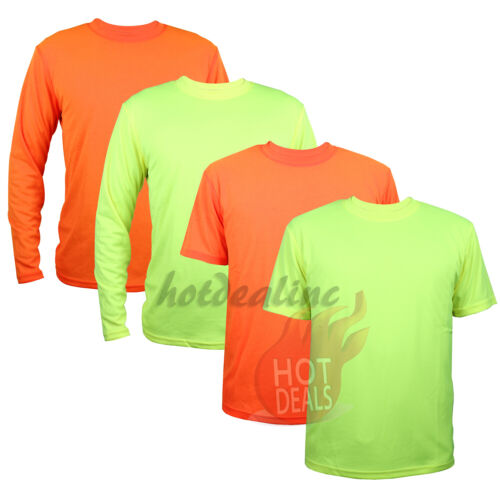 Work Safety High Visibility Plain T-shirt Green/Orange Sports Short/Long Sleeve