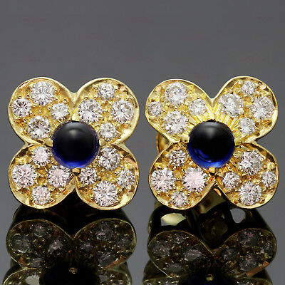 VAN CLEEF & ARPELS Trefle Diamond Sapphire 18k Yellow Gold Flower Earrings