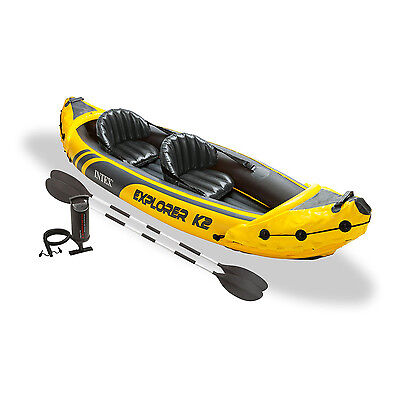 Intex Explorer K2 Yellow 2 Person Inflatable Kayak with Aluminum Oars  Air Pump