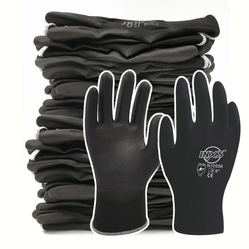 LPRED 12 Pairs Polyester Nylon PU Work Gloves for Builders Garden Black Gloves