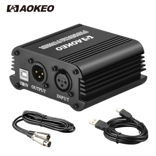 Aokeo 48V Phantom Power Supply with USB Cable and XLR 3 Pin Microphone Cable
