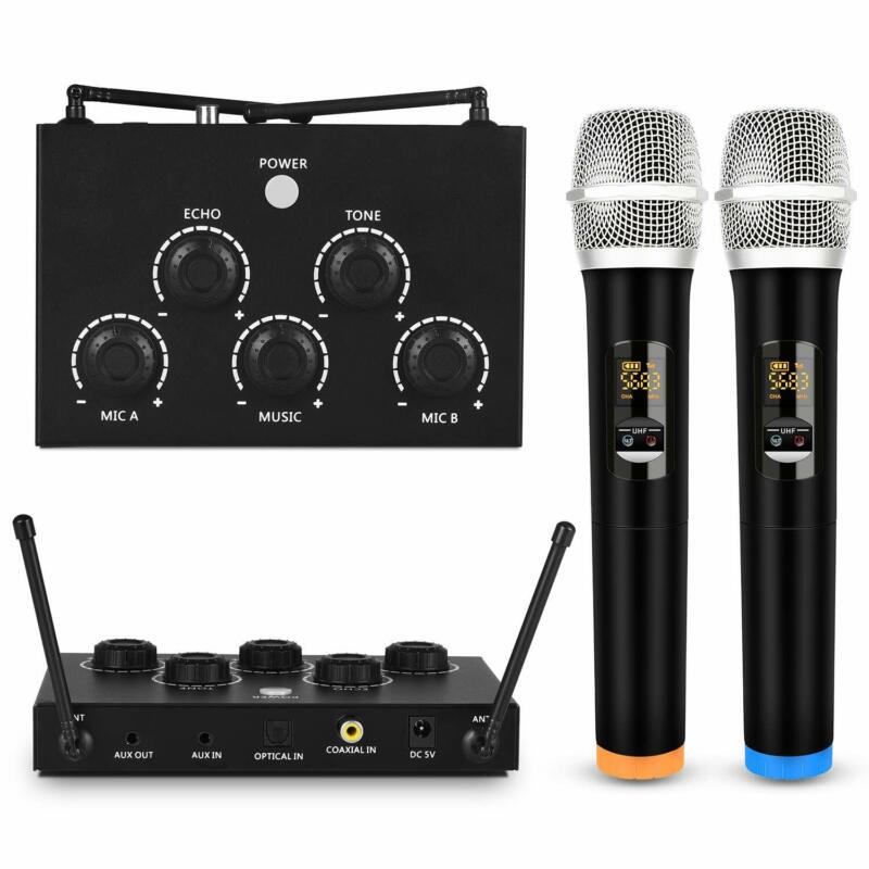 Portable Karaoke Microphone Mixer System Set with Dual UHF Wireless Mic 3.5mmAux