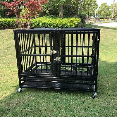 "37"" Heavy Duty Dog Strong Metal Crate Pet Playpen Kennel 2 Doors Tray & Wheels"