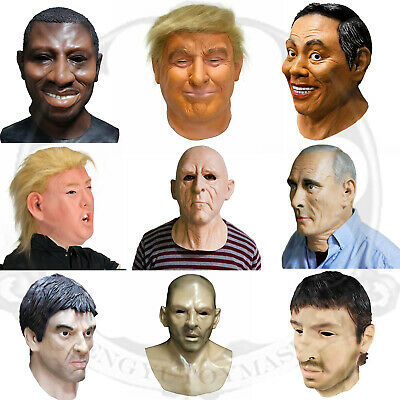 Celebrity Fancy Dress Halloween (Realistic Man Latex Mask Full head & Neck Male Disguise Halloween Fancy)