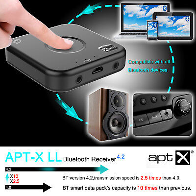Wireless Bluetooth V4.2 Audio Stereo Receiver 2x3.5MM Adapter Built in NFC & MIC