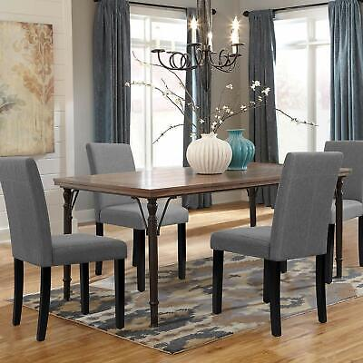 Walnew Set of 4 Modern Upholstered Hard Wood Dining Chairs with Wood Legs (Gray)