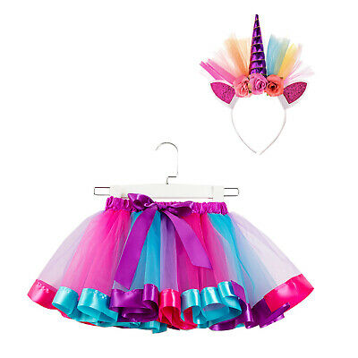 Girls Layered Colorful Tutu Skirt with Unicorn Horn Headband Outfits for Party](Outfit For Party)