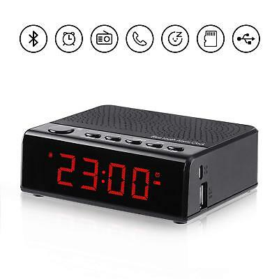 Alarm Clock Radio with Audio Bluetooth Speaker, FM Radio, 6'' digital LED Time (Bluetooth Digital Alarm Clock)