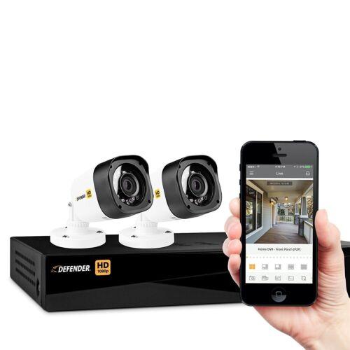 Defender 4-Channel, 4-Camera Wired 1TB DVR Surveillance System Black/White HD1T4B4