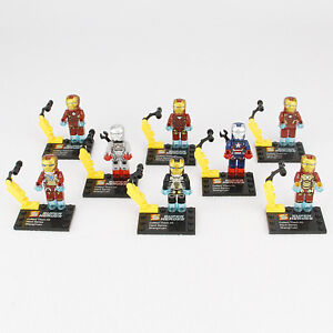Lot 8 Pcs Toys Marvel Hero IRON MAN Action Figure Loose Superhero Minifigure