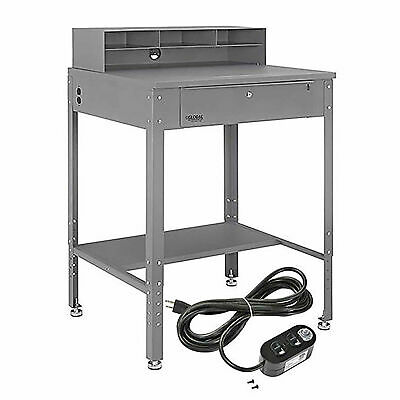Flat Top Shop Desk W Pigeonhole Compartments Electrical Outlets 34-12w X