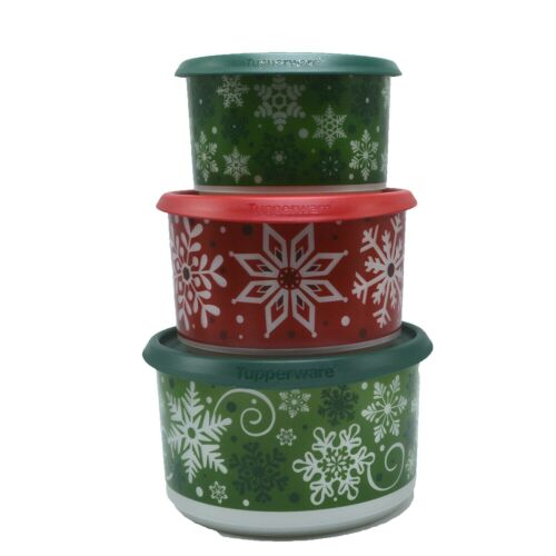 Tupperware Holiday Snowflake Canister Set Snow Place Like Home Set of 3
