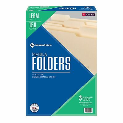 Smead 150 Manila File Folders Legal Size 13 Cut Top Tab Office Organize Filing