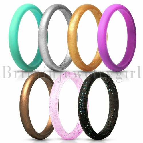 7pcs Set Thin and Stackable Silicone Ring Wedding for Women