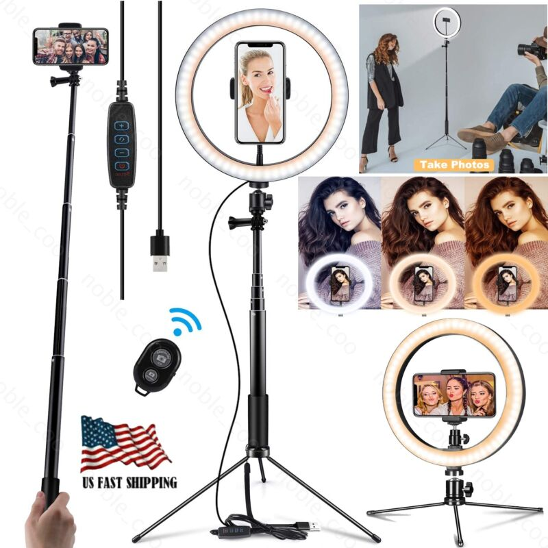 "10"" LED Ring Light Lamp with Tripod Stand Phone Holder for YouTube Video Live"