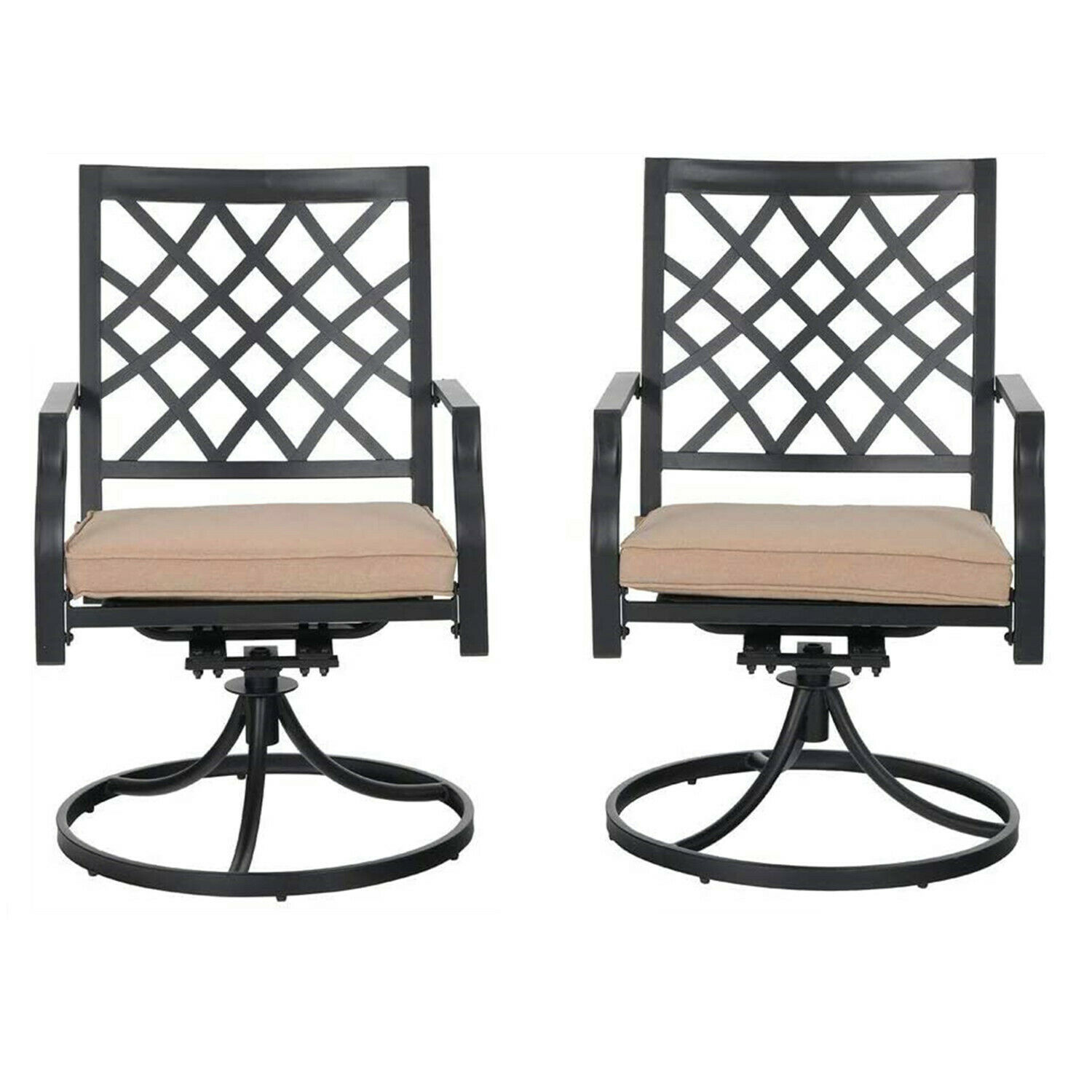 Garden Furniture - Swivel Patio Chair Set of 2 Metal Outdoor Chairs With Cushion Garden Furniture