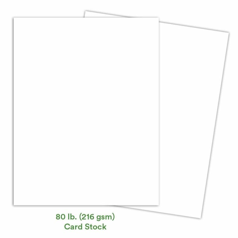 White Card Stock Paper   8.5 x 11 Inch Thick Heavy Weight Smooth Cardstock   50
