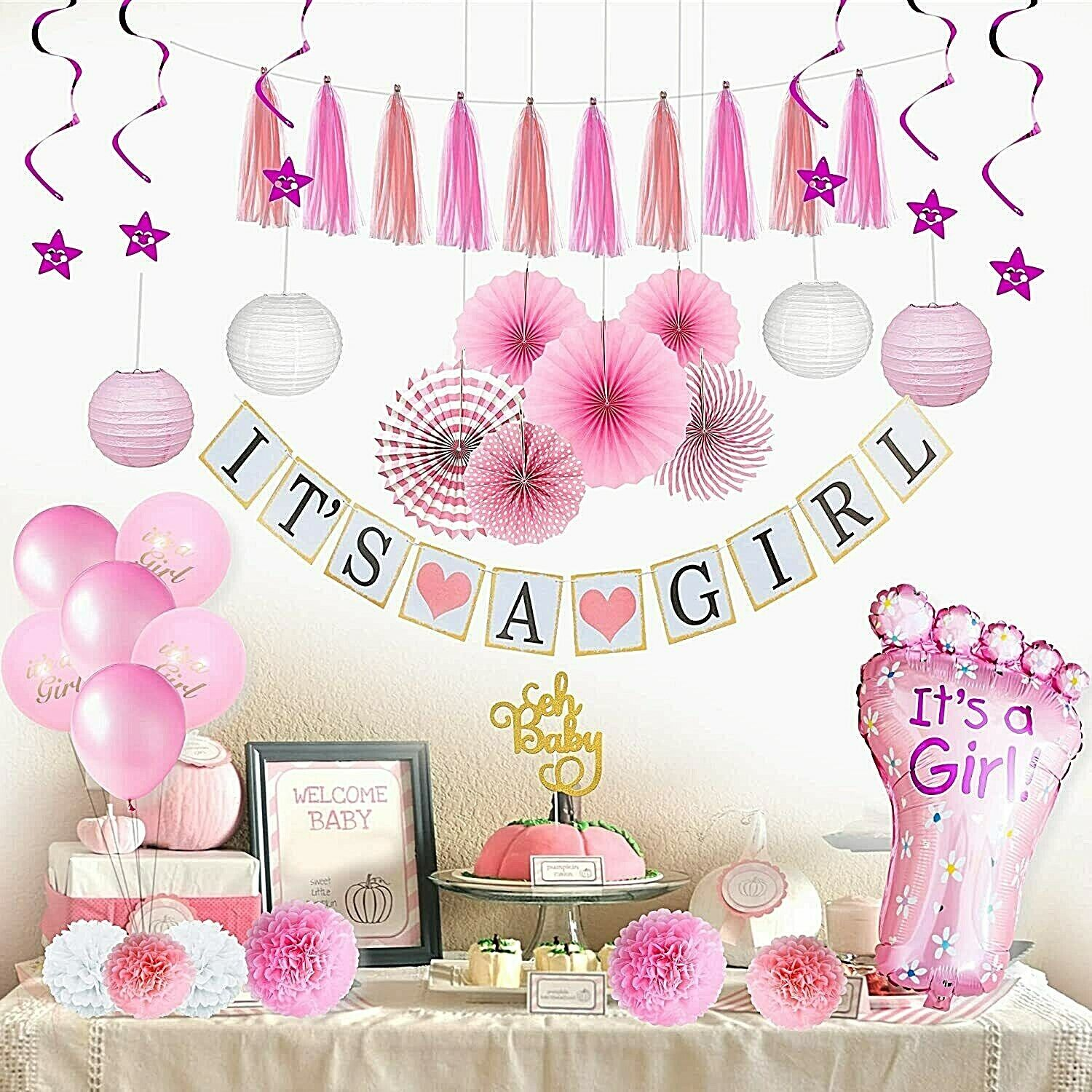 Complete Premium 41 PCS Baby Shower Decorationsfor Girls Pink Baby Shower Décor Greeting Cards & Party Supply
