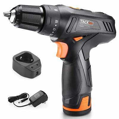Cordless Drill, TACKLIFE Drill Driver Set 2000mAh Li-on 12V 2-Speed 3/8-Inch Met