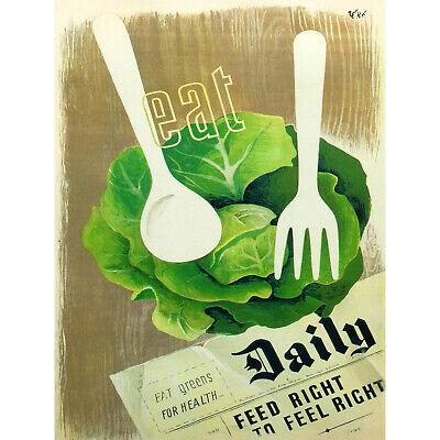 HEALTH FOOD VEGETABLES WAR SECOND WORLD UK VINTAGE ADVERTISING POSTER 2009PY