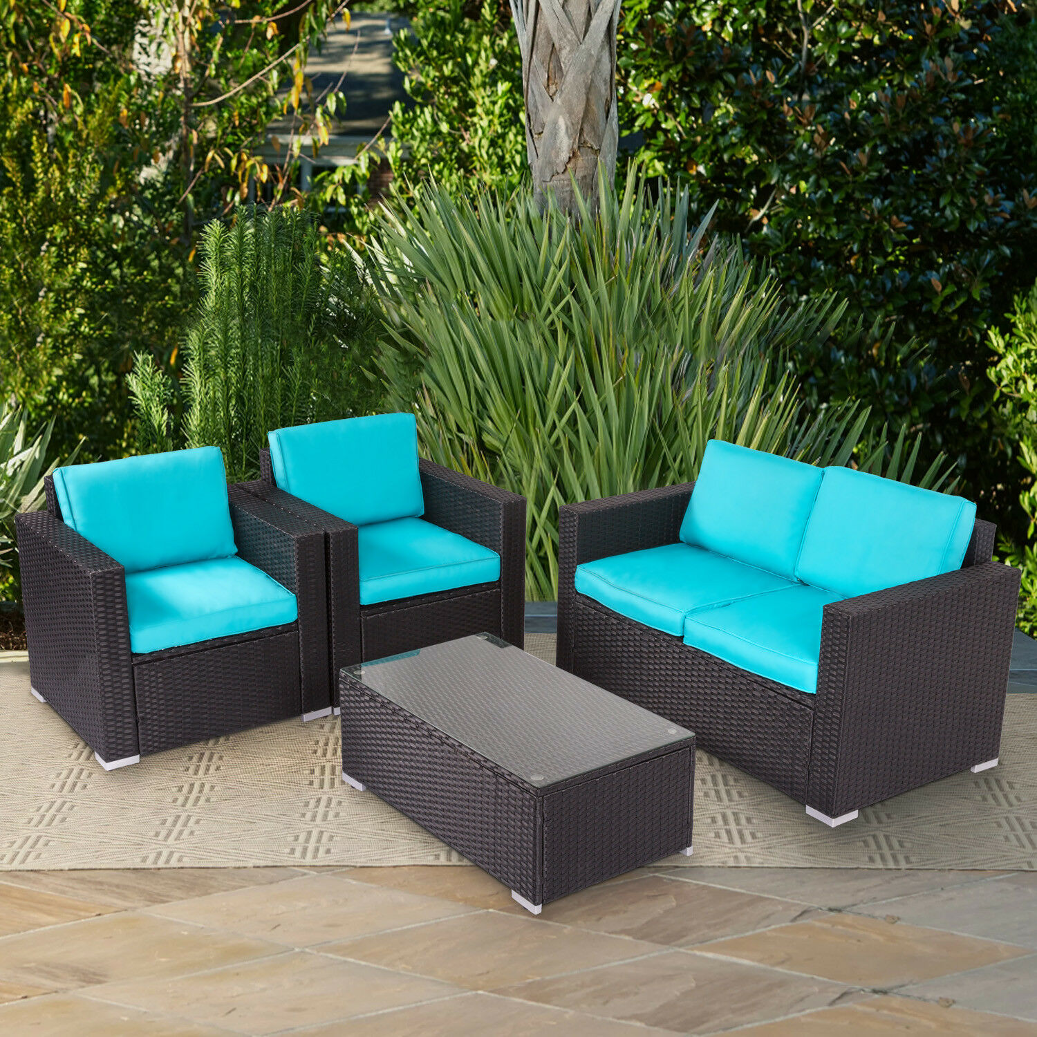 Garden Furniture - 4PCs Rattan Garden Furniture Patio Sofa and Table Set All Weather w/ Cushions