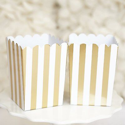 10 Gold and White Stripes Popcorn Favor Boxes Bridal Baby Shower to Pop Gift Box
