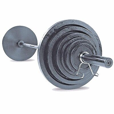 Body Solid 300 lb Olympic Weight Plate Set with 7' Black Bar OSB300S