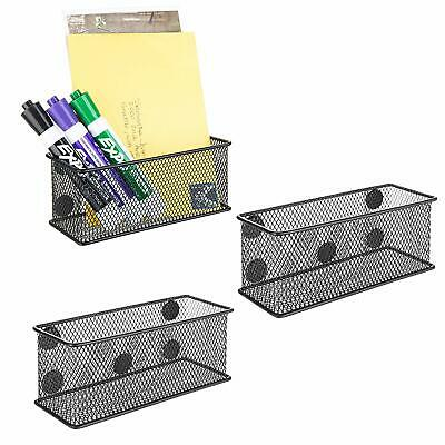 Set Of 3 Wire Mesh Magnetic Storage Baskets Office Supply Organize Black