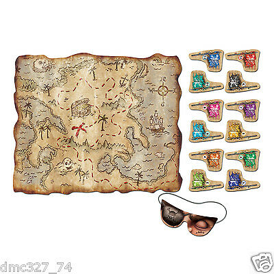 PIRATE Birthday Party Game PIN THE FLAG ON THE TREASURE MAP for 12 Guests