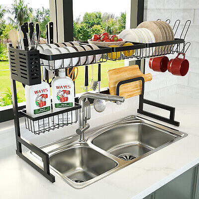 Over The Sink Dish Drying Rack, Stainless Steel Kitchen Sink Organizer