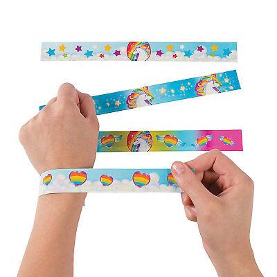 12 Birthday Everyday Party Favors UNICORN PONY RAINBOW Paper SLAP BRACELETS - Pony Birthday Party