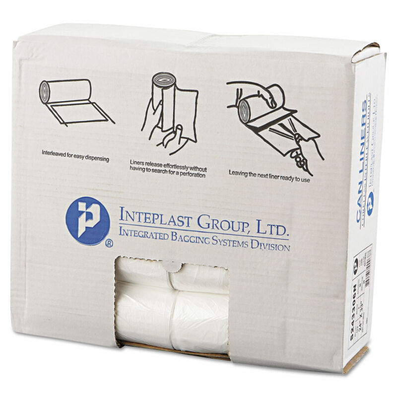 Inteplast Group High-Density Can Liner 24 x 33 16gal 6mic Clear 50/Roll 20 Rolls