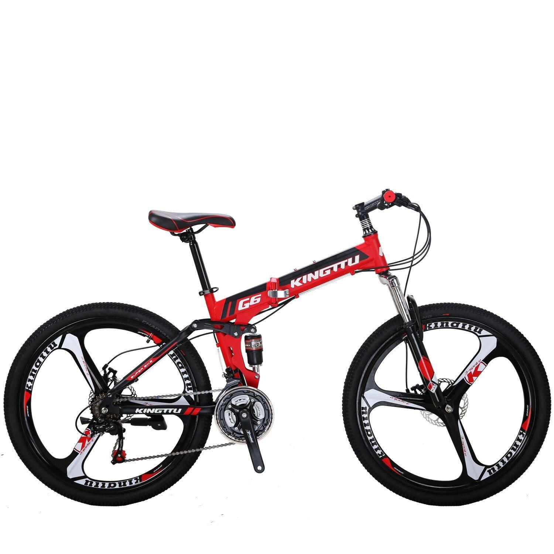 "27.5/"" Folding Mountain Bike 21 Speed Full Suspension Mens Bikes Foldable Bicycle"
