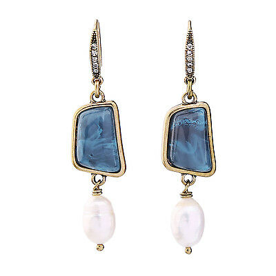 Irregular Square Blue Resin Pearl Drop Earrings 2017 New ed00915b