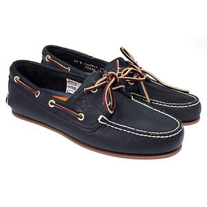 MENS TIMBERLAND CLASSIC  2 EYE LACE UP 74036 NAVY LEATHER BOAT SHOES SIZE
