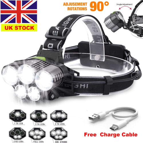 90° Rotation Super Bright Headlamp CREE XM-L T6 LED Light Headband Torch Fast UK