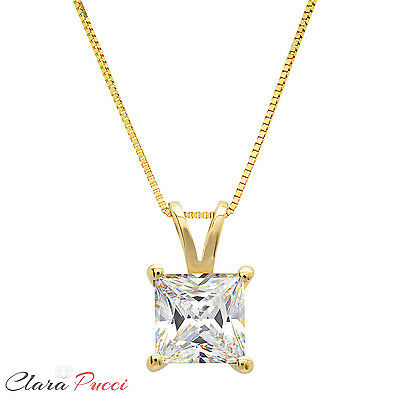 1 Ct Princess Cut 14K Yellow Gold Solitaire Pendant Necklace Box With 16