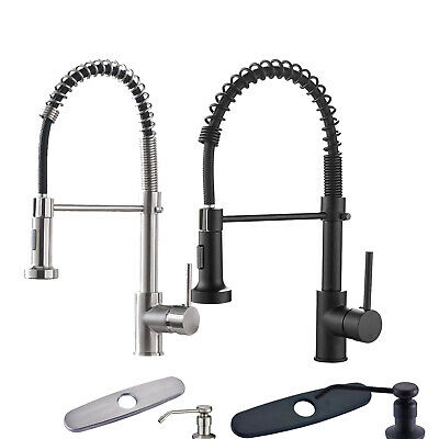 Kitchen Faucet with Pull Down Sprayer Single Handle Spring Mixer Tap Lead-Free