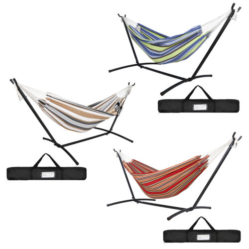Multi-Color Hammock with Stand Steel Double Swing Bed with Carry Case  Outdoor Hammocks