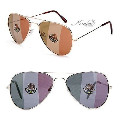 Aviators Sunglasses with Printed Mexican Flag Lens Mexico World (Sunglasses With Printed Lenses)