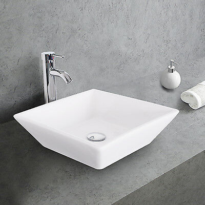 Place Ceramic Bathroom Vessel Sink W/Faucet Chrome White Basin Combo Drain Hose
